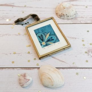 Bloom IV, framed original blue flower miniature collagraph wall art print with gold embellishments
