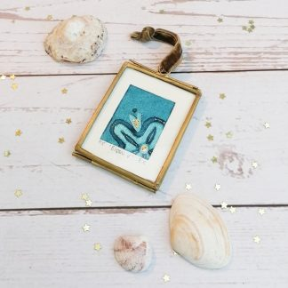 Bloom V, framed original blue flower miniature collagraph wall art print with gold embellishments