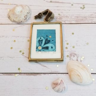 Bloom VI, framed original blue flower miniature collagraph wall art print with gold embellishments