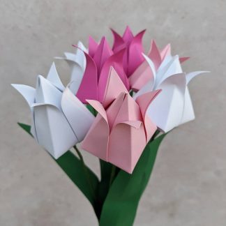 Bouquet of recycled paper tulips by Origami Blooms