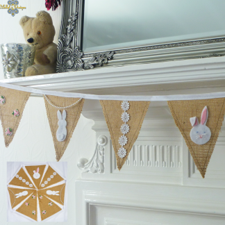 Rabbit bunting with flowers and lace MollyG Designs