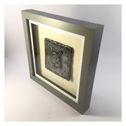 Side view of a Pewter Hare and Moon plaque mounted in a grey box frame