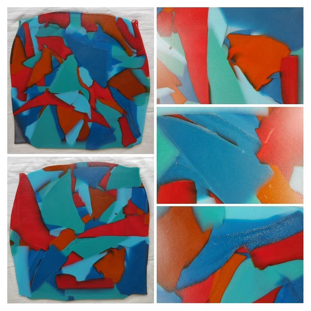 A collage of colourful glass
