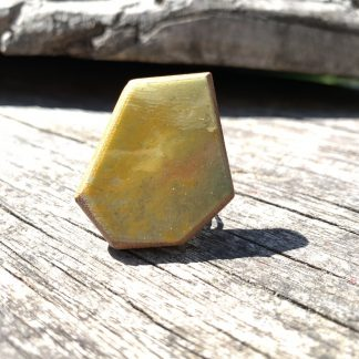 Contemporary wooden ring in yellow