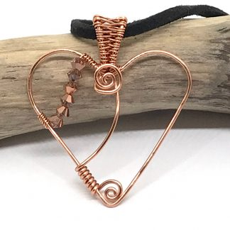 Copper Heart Pendant Necklace Crystal Beads