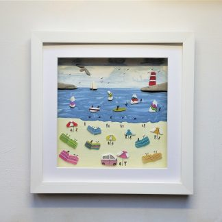 framed summer beach scene created from little pieces of Cornish sea glass