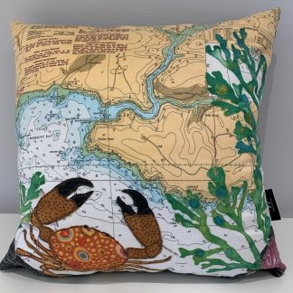 Crab at Wembury Bay cushion by Hannah Wisdom Textiles