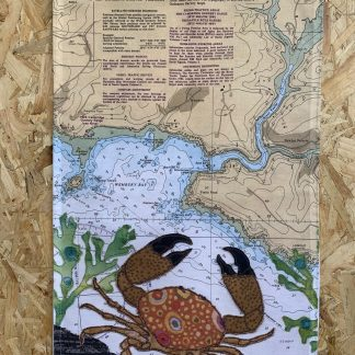 Crab at Wembury Tea towel by Hannah Wisdom Textiles