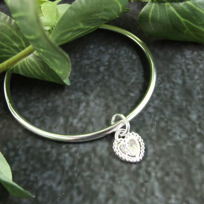 Heart-Charm-Bangle-Sterling-Silver-Hallmarked