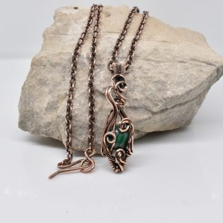 Dainty Malachite and Copper Wire Wrapped Pendant