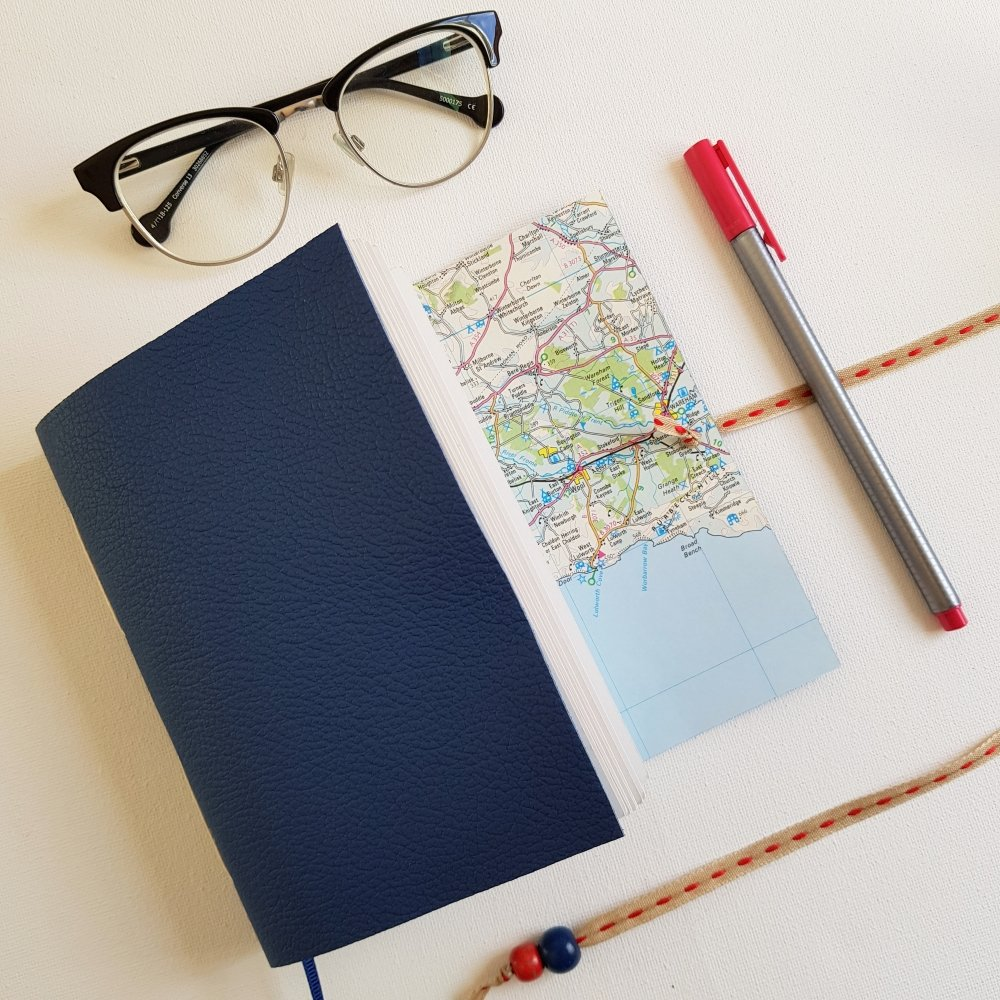 Dorset Map Travel Journal, Blue Leather, A6 size, Mallory Journals
