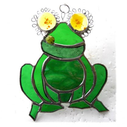 Frog stained glass suncatcher