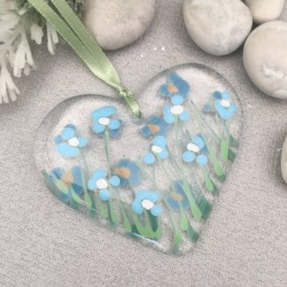 Fused glass forget-me-not heart in clear glass