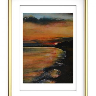 Summer sunset over Stokes Bay Print A4- Energy Art Landscapes