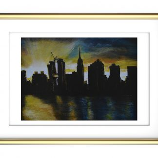 Sunset on the East River NYC A4 Print