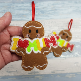 Gingerbread Holding a a Personalised I Love Mum Banner