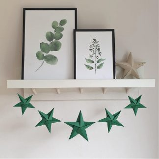 Green origami stars garland star room decoration