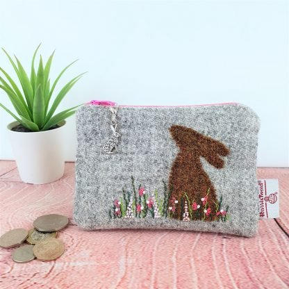 Grey Harris Tweed Coin Purse with Hand Embroidered Hare