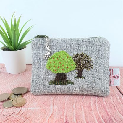 Hand Embroidered Tree on Grey Harris Tweed. Coin Purse