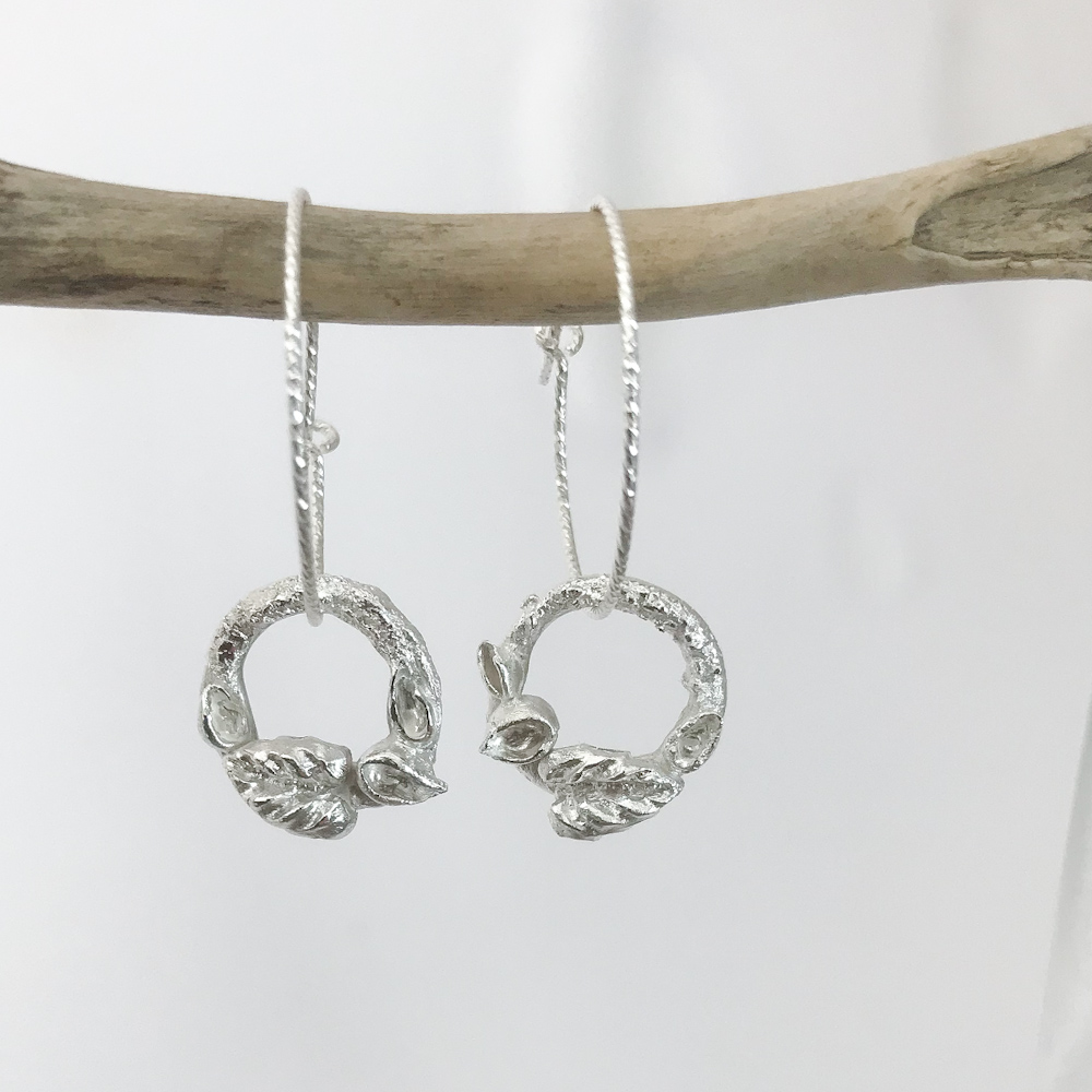 Woodland Silver Earrings, Textured Hoops with Silver Leaves and Buds