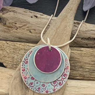 duck egg blue and cerise pink layered necklace