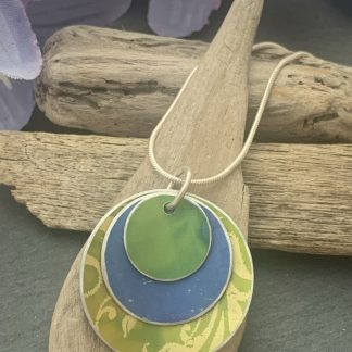 lime and purple layered pendant