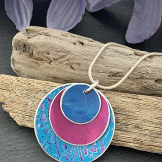 electric blue and cerise pink aluminium necklace