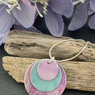 lilac and teal print necklace