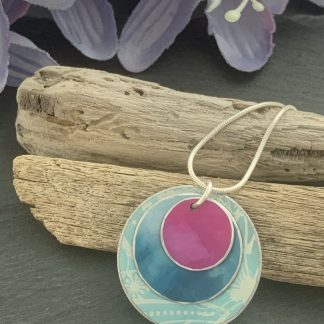 turquoise and pink aluminium necklace