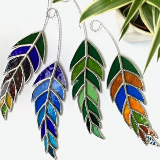 Stained glass feather suncatcher by Caroles Glass