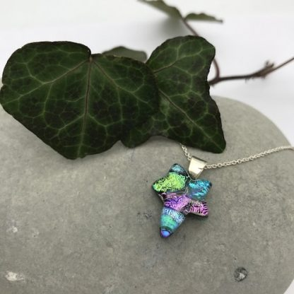 Turquoise / Green /purple ivy leaf dichroic glass necklace