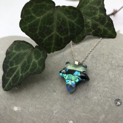 green ivy leaf dichroic glass necklace