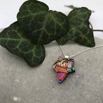 Red ivy leaf dichroic glass necklace