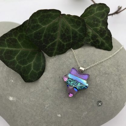 Purple ivy leaf dichroic glass necklace