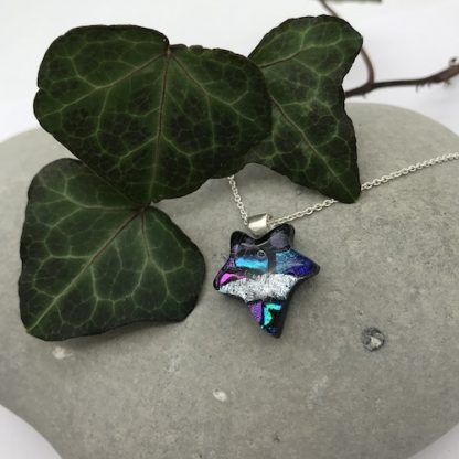 silver and multi-colour ivy leaf dichroic glass necklace