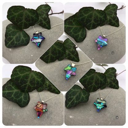 Mosaic ivy leaf dichroic glass necklaces