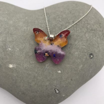 'Sunset' fused glass butterfly necklace