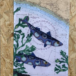Mackerel tea towel by Hannah Wisdom Textiles