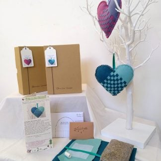 Lavender woven heart craft kit packaging and end product - Oh Sew Creative