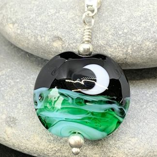 Moonlit sea lampwork pendant