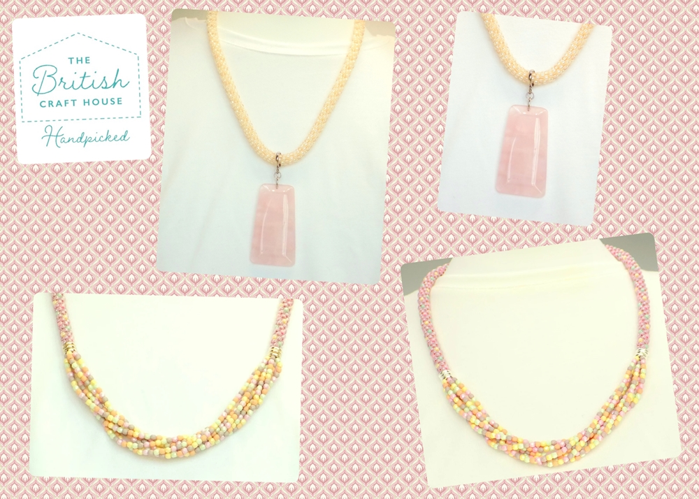 Pastel Coloured Kumihimo Beaded Necklaces