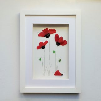 framed picture of red poppies made from Cornish sea glass