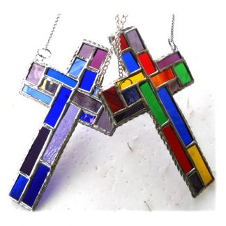 PATCHWORK CROSS STAINED GLASS SUNCATCHER