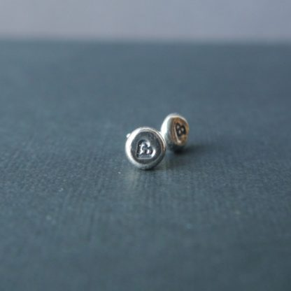 Everyday Silver Pebble Studs with celtic heart