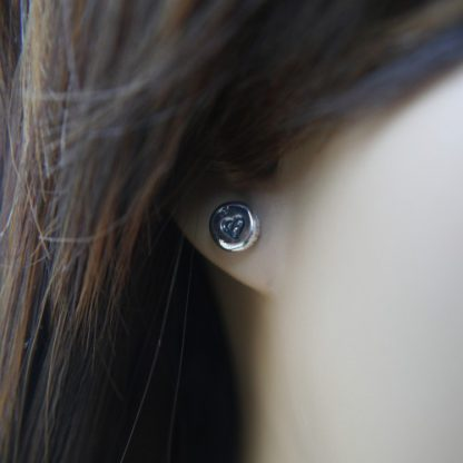 Everyday Silver Pebble Studs being worn