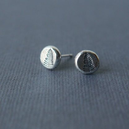 Everyday Silver Pebble Studs with pine tree