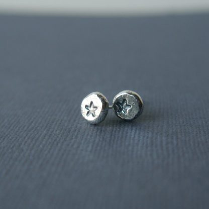 Everyday Silver Pebble Studs with stars