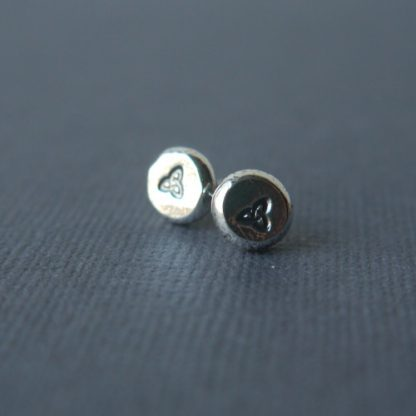 Everyday Silver Pebble Studs with triquetra