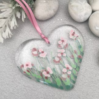 Fused glass pink daisy heart in clear glass