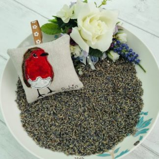 Lavender Bag with appliqued Robin in bowl of lavender